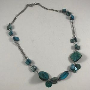 Vintage Blue Abalone Necklace, Vintage Jewelry